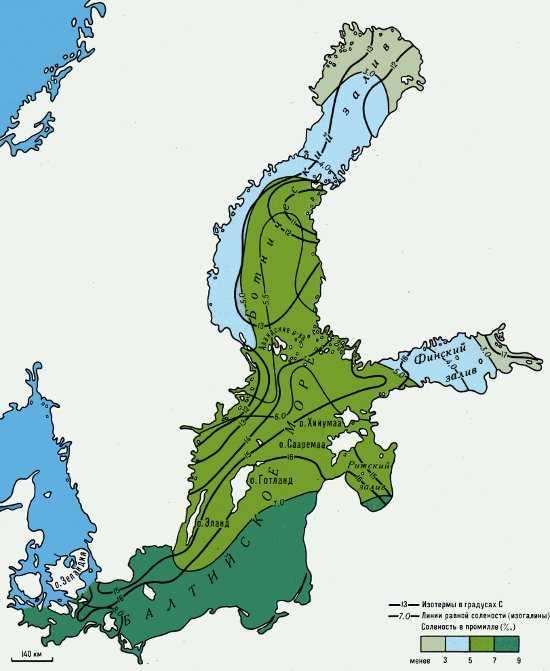 Температура воды и соленость на поверхности Балтийского моря летом
